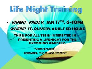 Life Teen Training Flyer